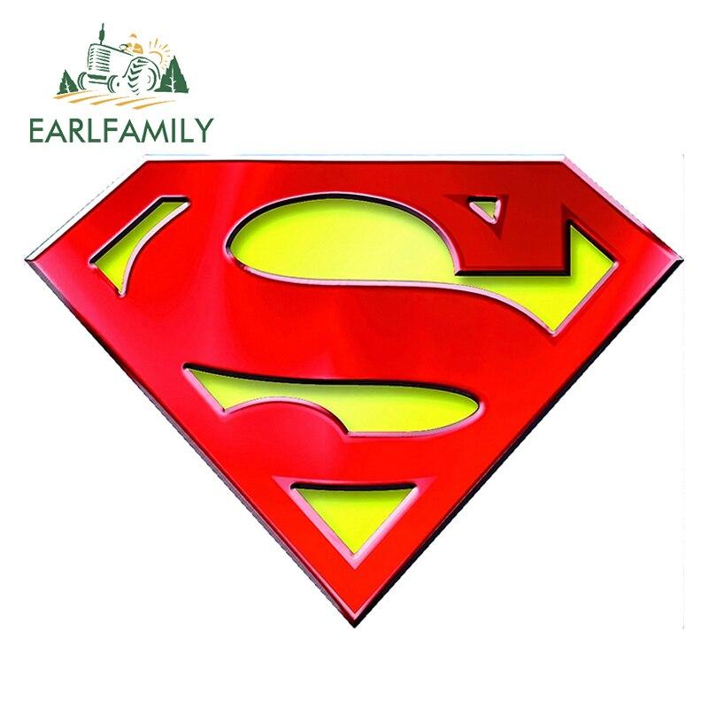 EARLFAMILY 13cm x 13cm 3D Cool Car Stickers Superman Logo Super Hero Window Decal Sticker Rear Windshield Car Styling Sticker
