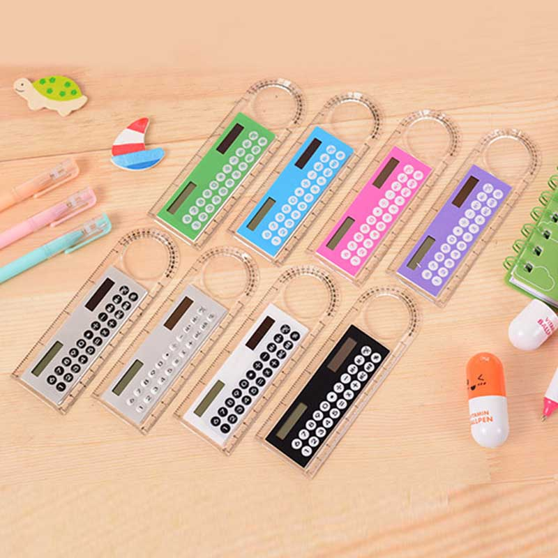 Mini Calculator Magnifier Multifunction 10cm Ultrathin Ruler Student Office Stationery Supply GV99