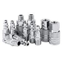 14 Uds manguera de aire accesorio compresor 1/4 pulgadas Bsp conectores de Metal acoplador macho hembra conjunto de liberación rápida