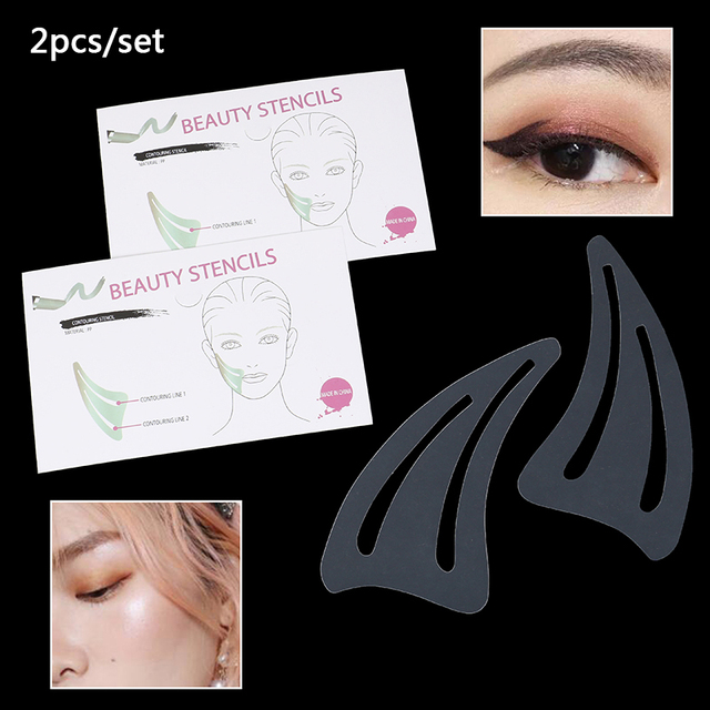 2pcs/set Eyebrows Template Card Eye Shadow Makeup Tool Eyeliner Stencils Winged Eyeliner Stencil Models Template Shaping Tools 1