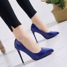 Women Shoes Pointed Toe Pumps Patent Leather Dress 12cm High Heels Boat Shoes Wedding Shoes Zapatos Mujer Blue White Pink Black new designer black leather ankle wrap pumps women shoes pointed toe stiletto heels high heels pumps 12cm pink red ladies shoes