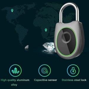 Image 2 - Taşınabilir akıllı parmak izi kilidi elektrikli biyometrik kapı kilidi USB şarj edilebilir IP65 su geçirmez ev kapı çanta valiz kilidi