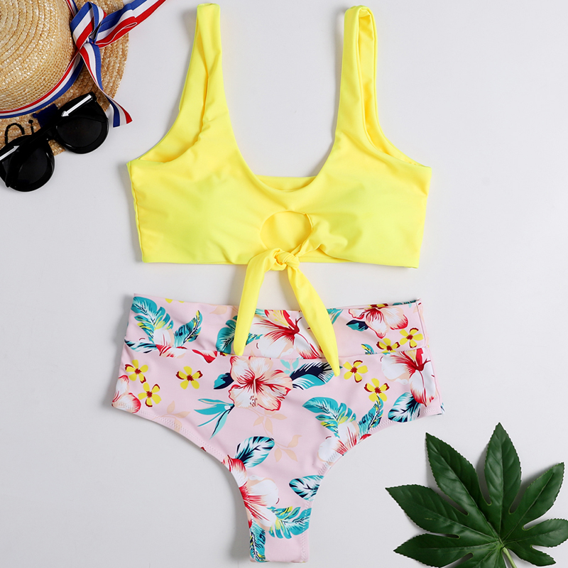WTCandy 2020 New Mid Waist Bikini Set Women Yellow Orange White Swimwear Brazil Beach Biquini Print Swimsuit Knot Bathing Suit