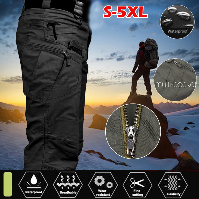 Men\'s Spring Cargo Pants For Men Tactical Multi Pocket Elastic Waist Military Trousers Male Casual Pants Autumn Slim Fit 5XL