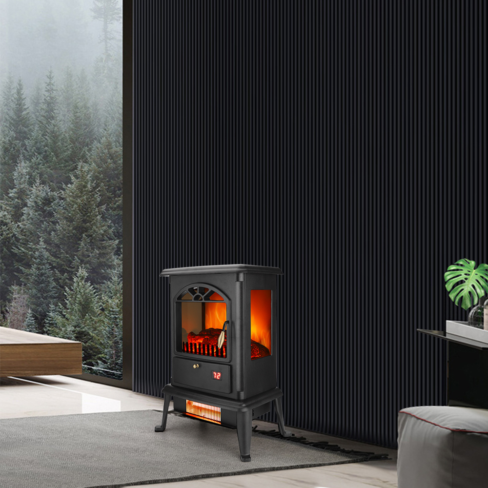 3D Flame Fireplace Freestanding Heater 3-Door Glass with Remote Control Fake Firewood 3 Quartz Tubes 1500W Black[US-Stock]  - buy with discount