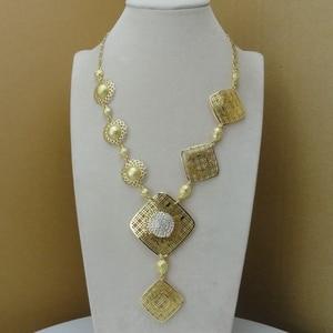 Image 2 - Yuminglai 2019  Fashion Dubai Luxury Jewelry Set Three Color Plated Gold Lady Jewelry Sets FHK8533