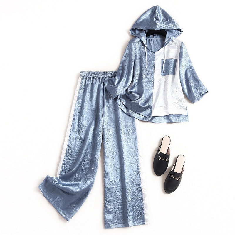 Women 2020 fashion chiffon casual suit spring drawstring hooded sweatshirt loose + wide leg pants active two piece set blue