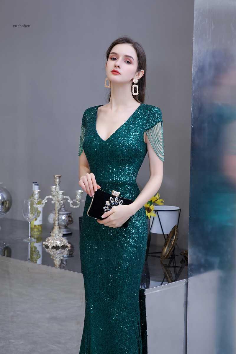Payetli Maxi elbise zarif V boyun zümrüt yeşil denizkızı örgün parti akşam elbise ile boncuk