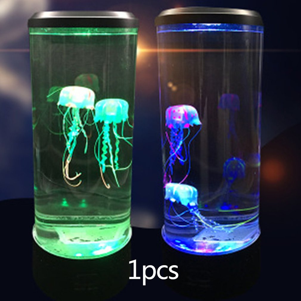 Led <font><b>Jellyfish</b></font> Night <font><b>Light</b></font> Home Aquarium Decoration <font><b>Lights</b></font> Bedside Lamp Creative Atmosphere <font><b>Lights</b></font> Fashion Beautiful USB Charging image