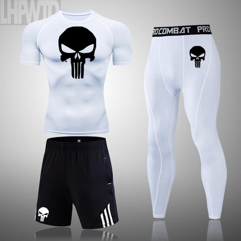 Men Skull Compression set Costume MMA Gym T-shirt Men Tracksuit Tights T shirt Fitness leggings Bodybulding Punisher Running Set