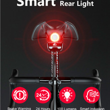Cycling-Tail-Taillight Led-Light Bike Sensing Bicycle Usb-Charge Waterproof Smart Auto-Start/stop-Brake