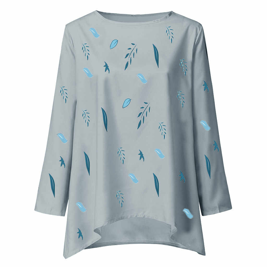 Женская Гавайская О-образным вырезом шифоновая рубашка Топ Осенняя Женская с длинным рукавом лист печати Повседневная нерегулярная свободная Удобная Блузка Топы