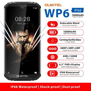 "OUKITEL WP6 6.3"" Mobile Phone IP68 Rugged Waterproof Smartphone MT6771T 6GB 128GB Octa Core 48MP Tri-Cameras Cellphone 10000mAh"