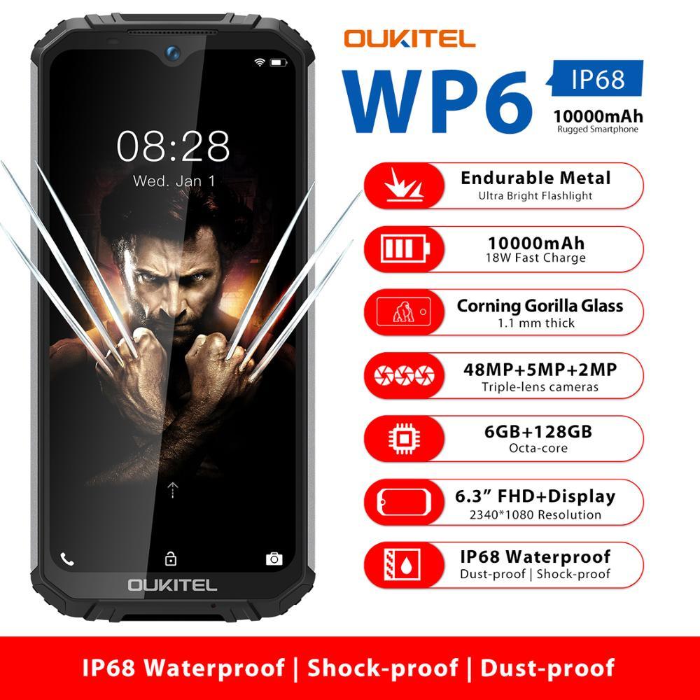 """OUKITEL WP6 6.3 """"telefon komórkowy IP68 wytrzymały wodoodporny smartfon MT6771T 6GB 128GB Octa Core 48MP tri-aparaty telefon komórkowy 10000mAh"""