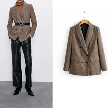 za 2019 plaid tweed blazer office wear nortched long sleeve single breasted pock