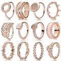 Kakany alta qualidade ouro rosa coroa redonda em forma de coração anel de trevo original alta qualidade 1:1 moda jóias diy