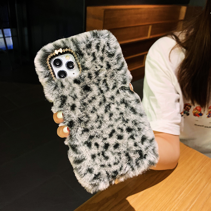 Rabbit Warm Fur hair Plush <font><b>Case</b></font> For <font><b>iPhone</b></font> 12 11 Pro Max SE 2020 Lepoard Fluffy Back Cover for <font><b>iPhone</b></font> 5 5S 6 6S 7 8 <font><b>X</b></font> <font><b>Xs</b></font> Max XR image