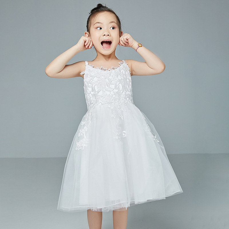 New Fashion Lace Sling Sleeveless Organza Elegant Flower Girl Dresses Princess Pageant Formal Prom Gown Wedding Party Dresses