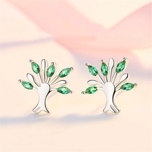 High Quality Christmas Tree Of Life Stud Earrings Girl Women Jewelry Sterling Silver 925 Earring Green CZ Stones Bling Beautiful