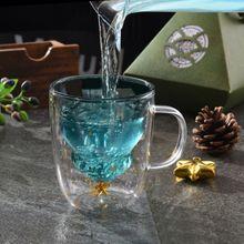 300 мл Рождественская елка изолирующая кофейная молочная чайная чашка с двойными стенками Стеклянная Кружка термостойкая чашка для рождественских подарков