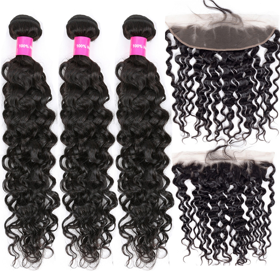 Water Wave Bundles With Frontal 3 Bundles Malaysian Human Hair Tuneful Remy Hair Pre Plucked Lace Frontal Closure With Bundles