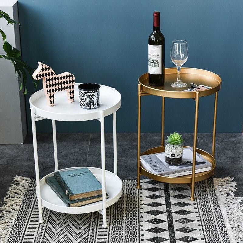 Table basse nordique fer petite Table d'appoint Double couche plateau thé Table basse salon meubles canapé côté Mini Table ronde
