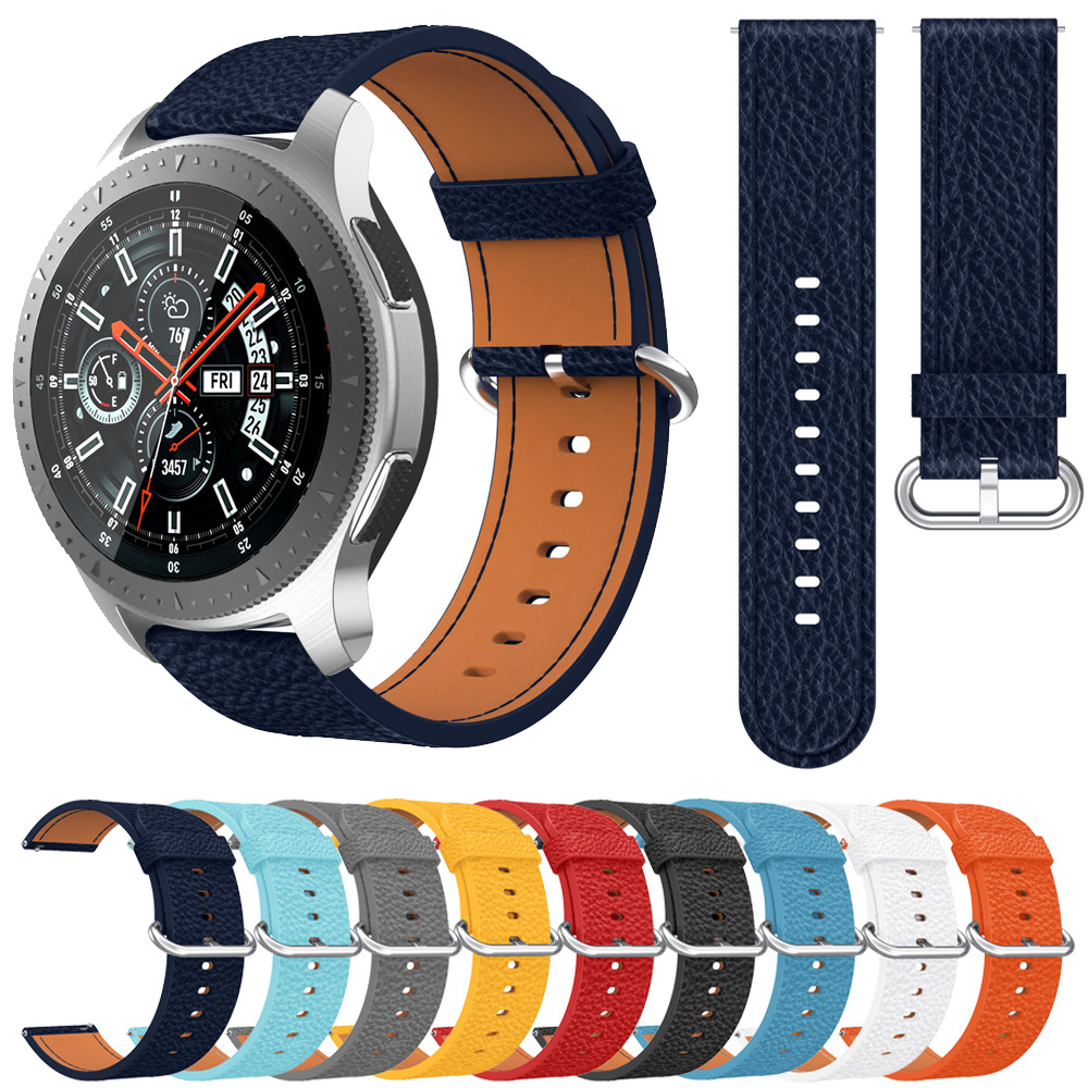 Genuine Leather Band Strap For <font><b>Samsung</b></font> galaxy <font><b>watch</b></font> <font><b>46mm</b></font> <font><b>Smart</b></font> <font><b>Watch</b></font> Replacement Classic Buckle <font><b>Bracelet</b></font> Belt 22mm Watchband image