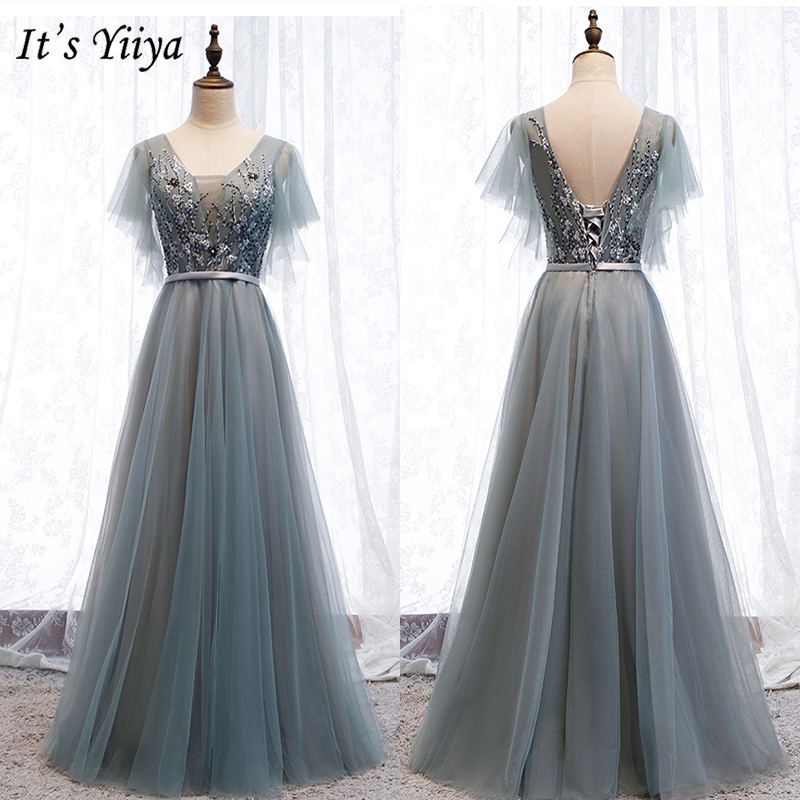 It's Yiiya Evening Dress 2019 Summer Flowers Embroidery A-Line Long Dresses Elegant V-Neck Short Sleeve Party Formal Gowns E986