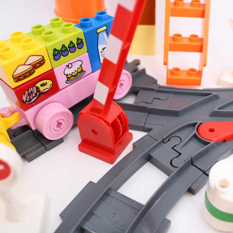 Klocki Diy zajęty pociąg Transport Track Site części akcesoria zabawki edukacyjne dla dzieci kompatybilne z Duplo