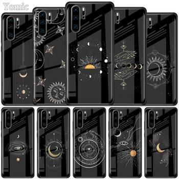 Перейти на Алиэкспресс и купить Чехол из закаленного стекла для Huawei P30 P40 Pro Plus P20 Lite P Smart, 2019, Nova 5i 5T 5z 7i, чехол с изображением солнечных цветов, кошек, змеиной Луны