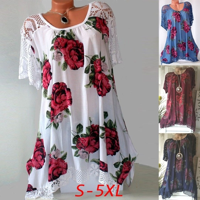 2021 new Women's Fashion Oversize Lace Floral Print Short Sleeve Casual Asymmetrical A Line Cotton Tunic S-5XL 5
