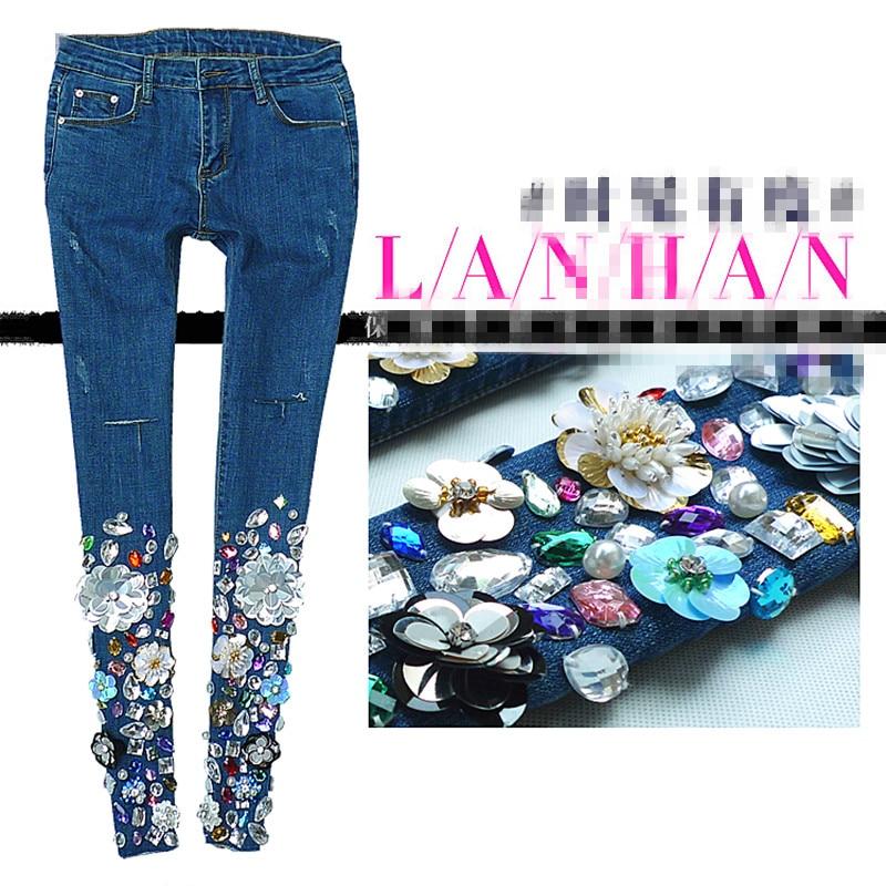Autumn Embroidered Diamond Fashion Hole Jeans Women Skinny Pencil Pants Fashion Runway Long Trousers Female 26-30