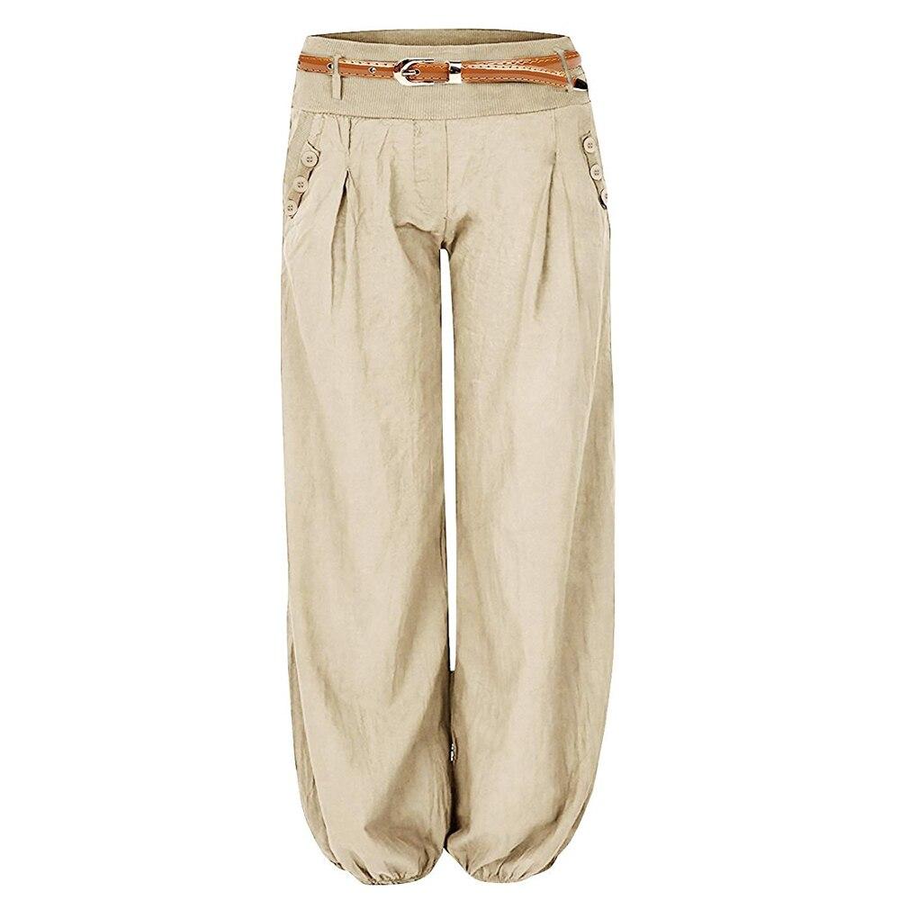 CALOFE Fall 2019 Women High Waist   Pants   Women   Wide     Leg     Pants   Femme Loose Long   Pants   Solid Casual Lace Up Trousers Oversized 2XL