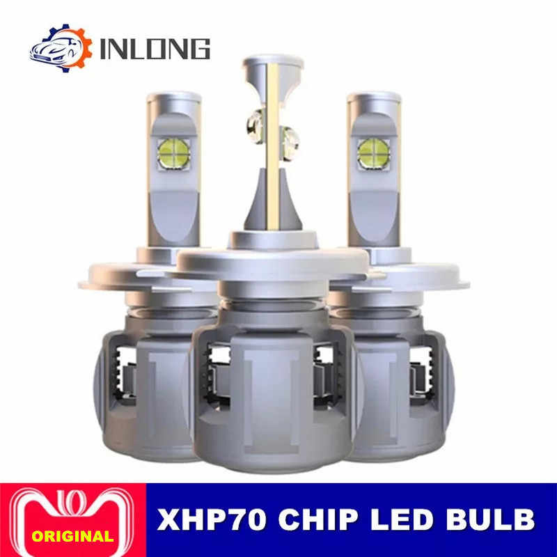 INLONG 2Pcs XHP70 H4 H7 רכב LED פנס הנורה H11 9005 9006 HB4 H8 D1S D2S H1 D4S שדרוג עדשת 6000K 15600LM פנס ערפל אור