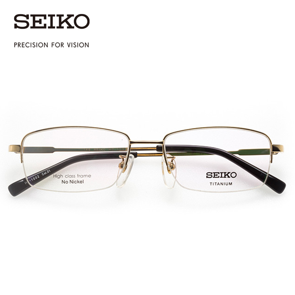 SEIKO Eye Glasses Frame for Men Gold Rim Optical Titanium Eyeglasses Square Dioptric Glasses Spectacles for Man HC1002