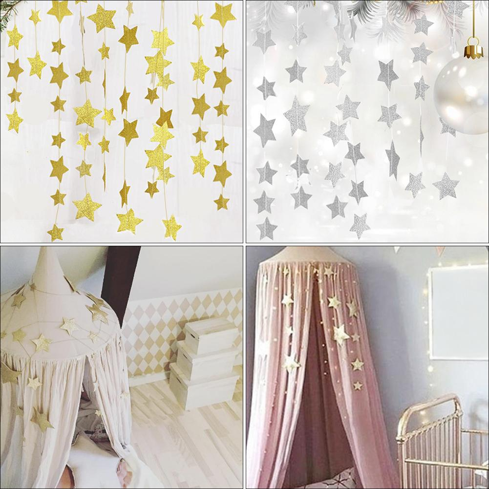 2M Baby Crib Net Garland Gold Stars Hanging Decoration Children's Girls Rooms Mosquito Nets Sparkling Star Garland Bunting