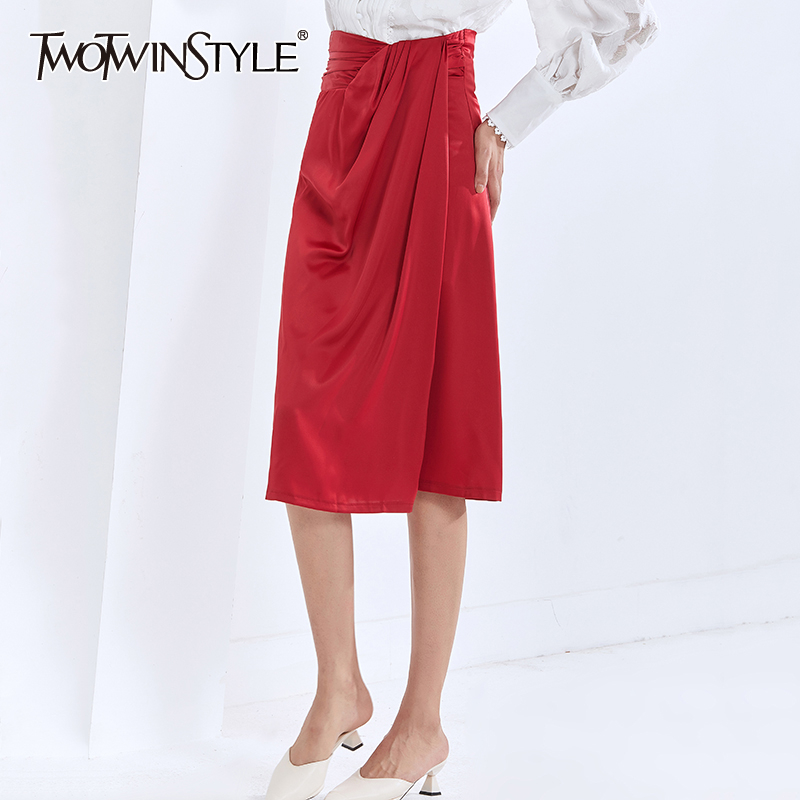 Twotwinstyle Irregular Ruched For Female Skirts Pure Color High Waist Loose Women's Elegant Skirt 2020 Fashion Autumn New Tide