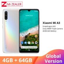 """Versão global do telefone móvel de xiao mi a3 4 gb 64 gb smartphone 4030 mah 6.088 """"amoled screen display 48mp 32mp ai câmera"""