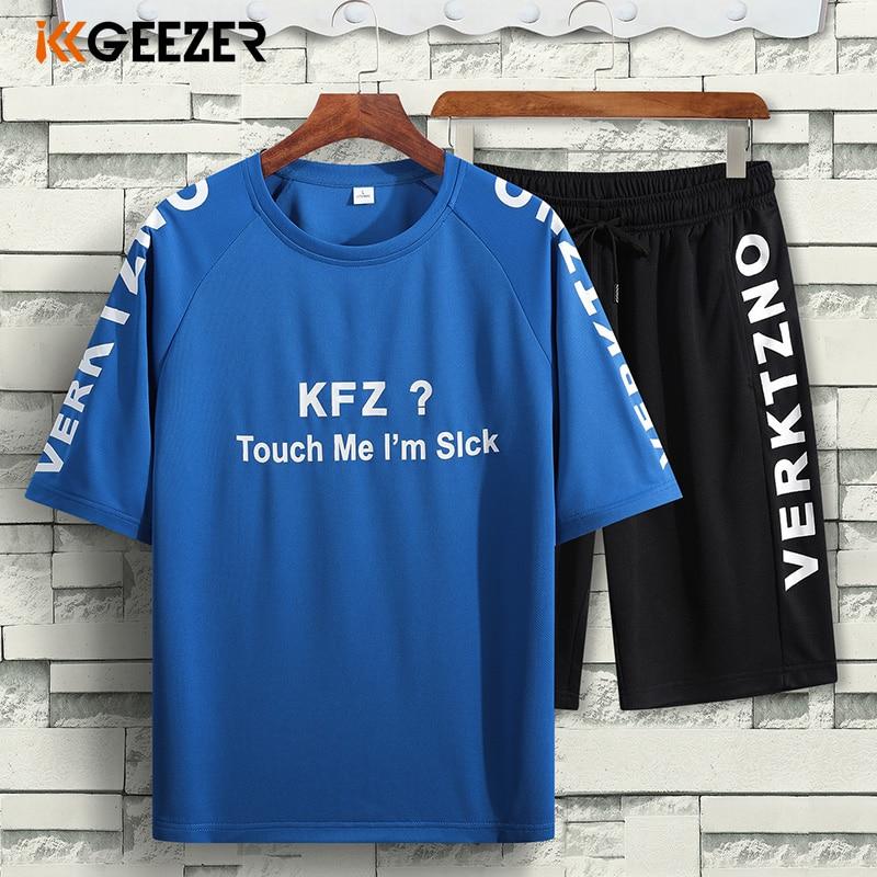 Men T Shirt Sets 5XL 6XL 7XL 8XL Shorts Summer Blue Quick-drying Set Running Casual 2020 T-Shirt Loose Beach Sport Dropshipping