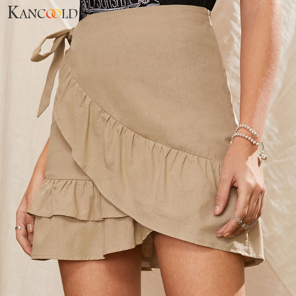 KANCOOLD Sexy Mini Skirt Fashion Women Solid Ruffles Bandage Lace Up Short Skirt A-Line Pleated Chiffon Boho Beach Wrap Skirts