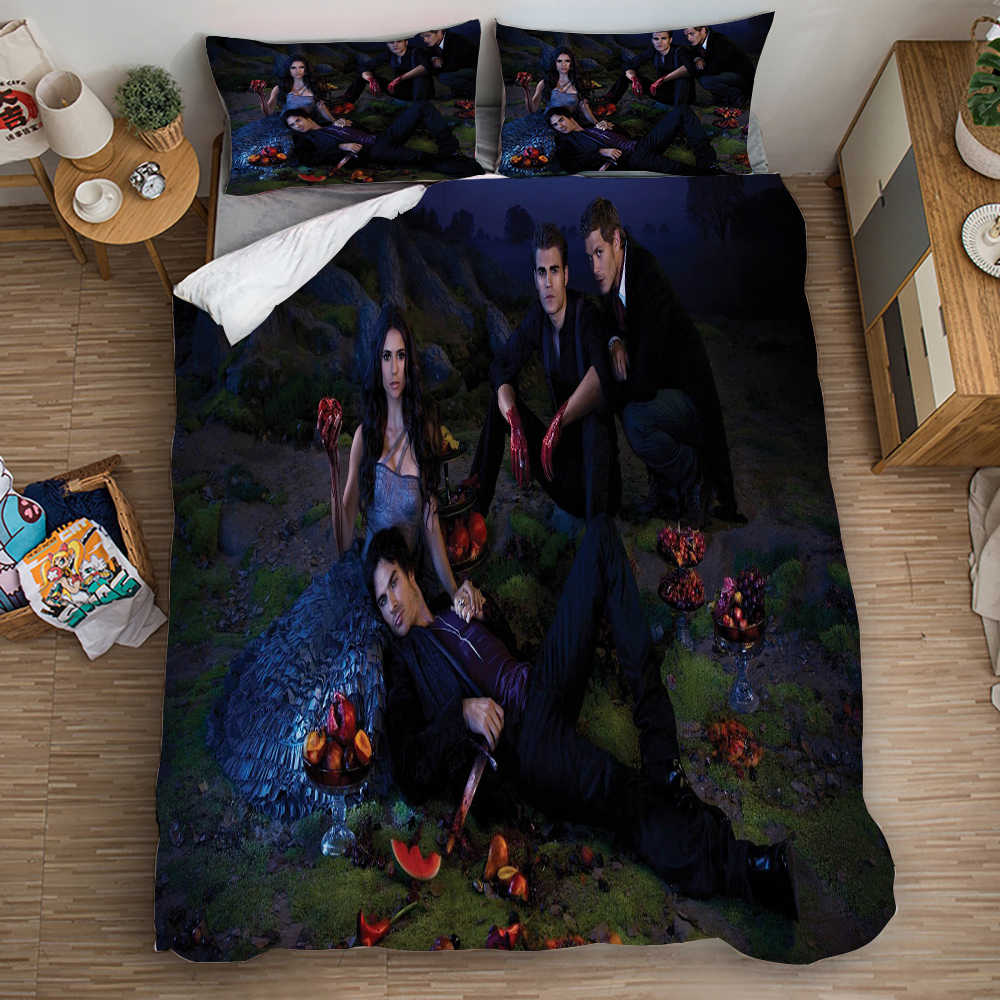 The Vampire Diaries 3d Printed Bedding Cover Bedding Set Duvet Cover Cartoon Giant Comforter Bed Linen Bed Set (NO Sheet)