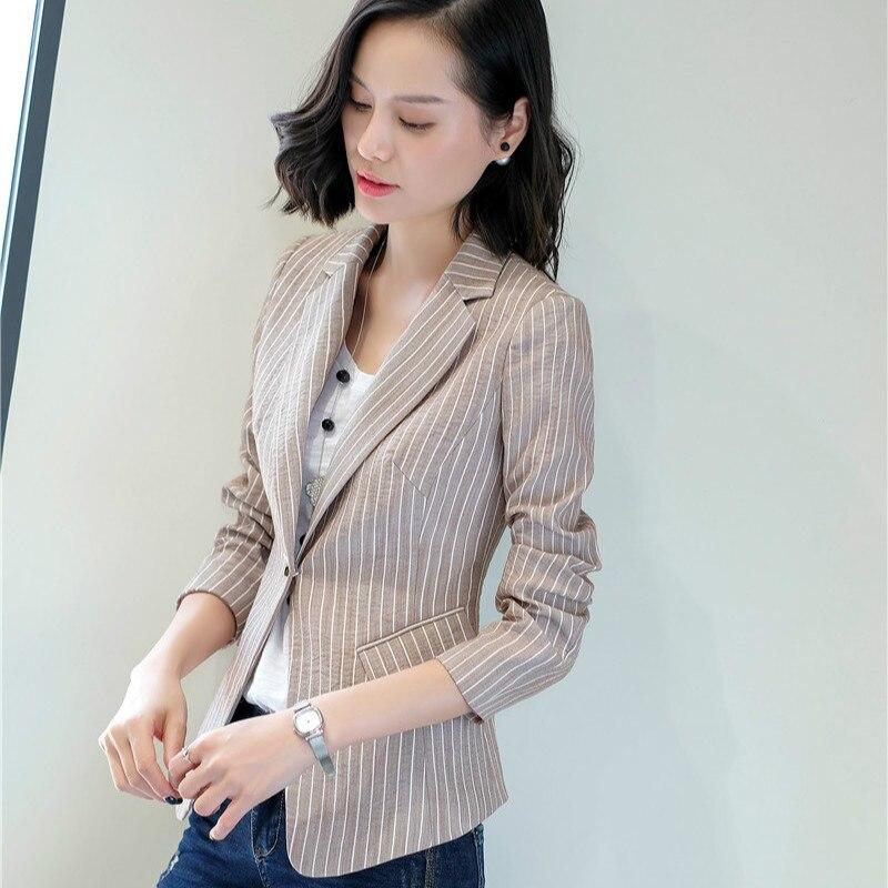 Casual Striped Blazer Women Outerwear Jackets Coat Ladies Office Uniform Style Female Elegant Formal Office Work Wear Clothes