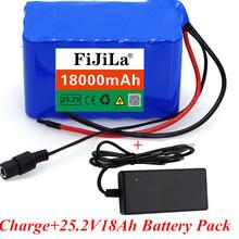 100 nowy 24V 18Ah 6S3P 18650 bateria litowa 25 2v 18000mAh elektrycznego roweru motoroweru elektryczny akumulator litowo-jonowy + ładowarka tanie tanio fijila NONE CN (pochodzenie) 1 5kg 110*65*55mm 6S3P 25 2V Laptop Li-ion