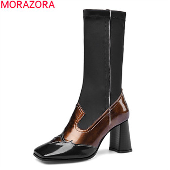 MORAZORA 2020 new arrive high quality genuine leather women boots fashion thick high heels winter ankle boots big size 34-43