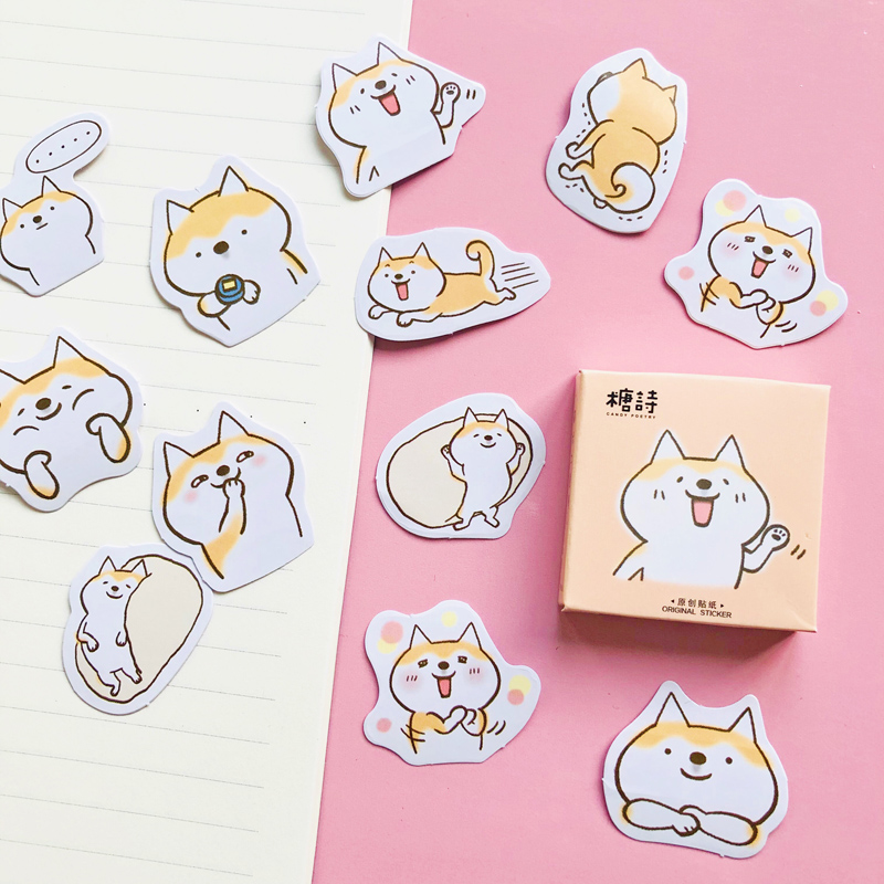 45 Pcs /Box Kawaii Shiba Inu Dog DIY Decorative Stickers Phone Bottle Decoration