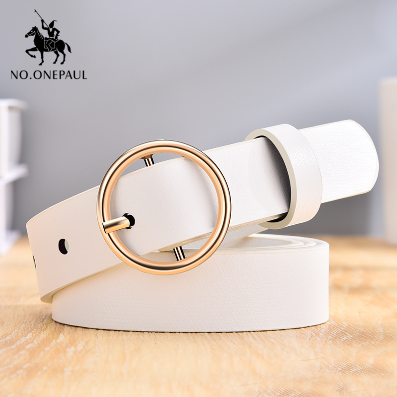 NO.ONEPAUL Dressing Ladies Leather Professional Dress Belt New Round Pin Buckle Leather Wild Jeans With Narrow Fashion Students
