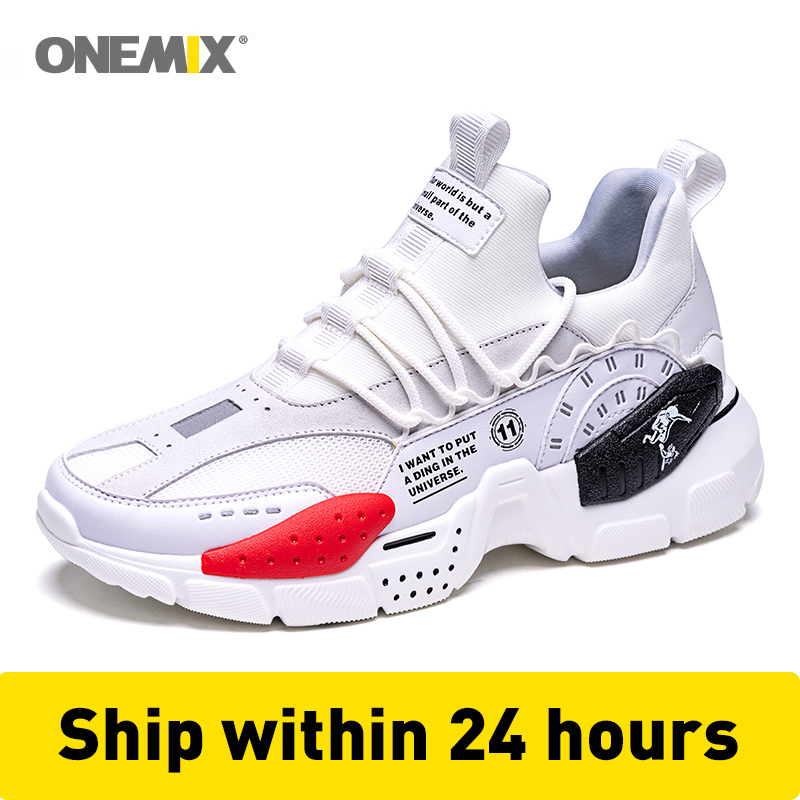 ONEMIX Men Sneakers Technology Style Leather Damping 4CM Outdoor Walking Shoes Women Sneakers Comfortable Sport Running Shoes