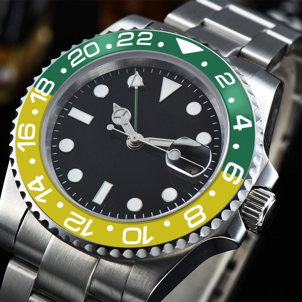 automatic watch GMT black dial 40mm luminous hands sapphire glass luxury mechanical watch  11-D1