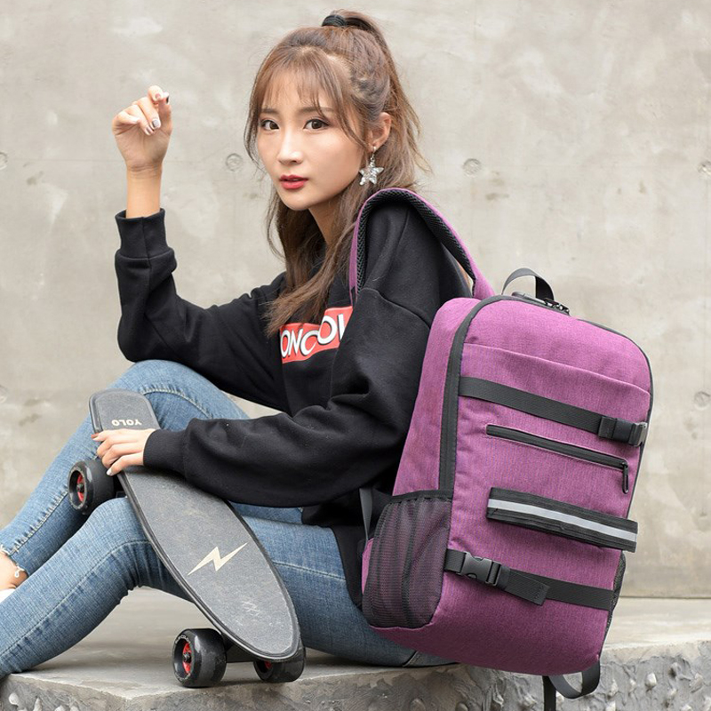 Polyester Laptop Skateboard Backpack Anti-theft Password Lock Shoulder Backpack School Parkour Longboard Bag Boy Girl USB Charge