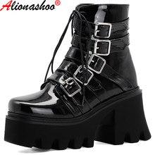 Grande taille hiver gothique Punk femmes plate-forme bottes noir boucle sangle fermeture éclair Creeper chaussures à semelles compensées cheville militaire Combat bottes 44